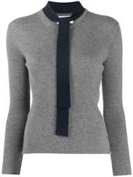 neck-tie ribbed crew-neck pullover