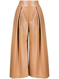 pleated faux-leather wide-leg trousers