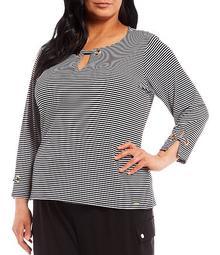 Plus Size Striped Matte Jersey Notch Neckline Grommet Tab Detail Long Sleeve Top