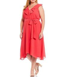 Plus Size Ruffled V-Neck Sleeveless Flounce Hem Tie Sash Chiffon Dress