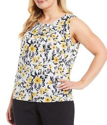 Plus Size Floral Matte Jersey Pleat Neck Top