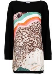 leopard-print virgin wool top