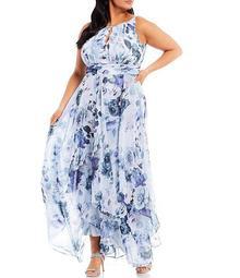 Plus Size Sleeveless Halter Neck Floral Chiffon Dress