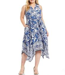 Plus Size Sleeveless V-Neck Handkerchief Hem Midi Dress