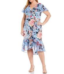 Plus Size V-Neck Flutter Short Sleeve Floral Faux Wrap Ruffle Dress