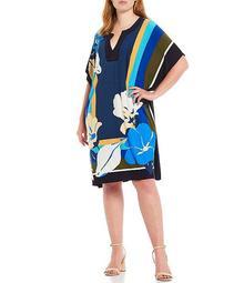 Plus Size Floral Split V-Neck Caftan Dress