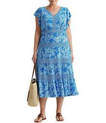 Plus Size Floral Jersey Midi Dress