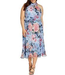 Plus Size Floral Halter Neck Blouson Midi Dress