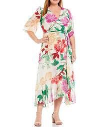 Plus Size Surplice V-Neck Balloon Sleeve Floral Wrap Maxi Dress