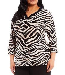 Plus Size Wild Zebra Print Contrast Notch V-Neck Neck 3/4 Sleeve Top