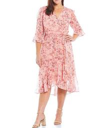 Plus Size Ditsy Floral Ruffle Faux Wrap 3/4 Sleeve Dress