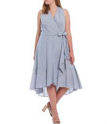 Plus Size Striped Wrap Cascade Ruffle Belted Midi Dress