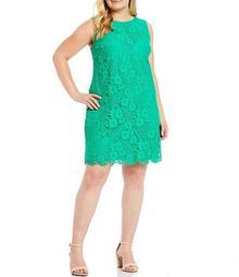 Plus Size Sleeveless Daisy Lace Shift Dress