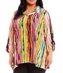 Plus Size Multi Stripe Wire Neck Side Seam Pocket Button-Front Tunic