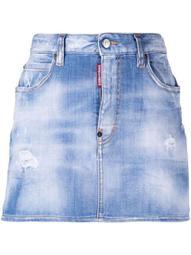 light-wash denim skirt