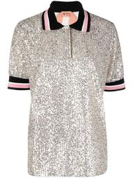 oversized sequinned polo shirt