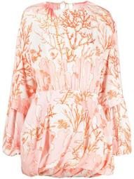 coral-print puffball mini-dress