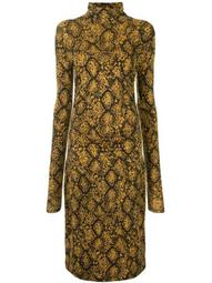 snake-print roll-neck midi dress