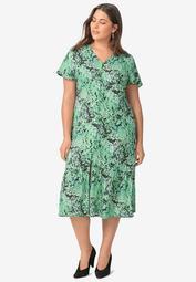Button-Front Flounce Hem Dress