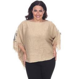 Women's Plus Size Eagle Wings Poncho - White Mark