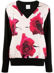 rose-print wool jumper