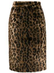 leopard print faux fur skirt