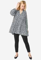 Tiered Tunic With Notch V-Neck