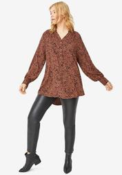 3-Button Y-Neck Tunic