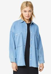 Oversized Button-Front Denim Shirt