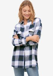 Plaid Button-Front Flannel Tunic