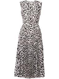 leopard-print pleated dress