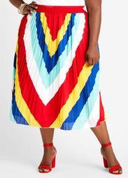 Chevron Plisse Maxi Skirt