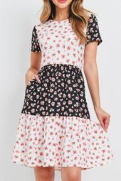 Floral-Contrast-Tiered-Ruffle-Dress