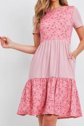 Floral-Contrast-Elastic-Waist-Pocket-Dress