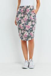 Floral-Print-Front-Tie-Pencil-Skirt