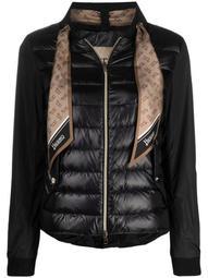 monogram-scarf puffer jacket