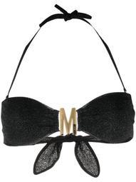metallic halterneck bikini top