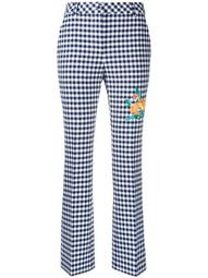 check print slim fit trousers