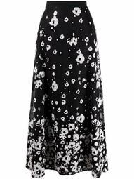 Tulle embroidered midi skirt