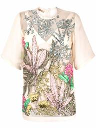 embroidered tulle floral-print T-shirt