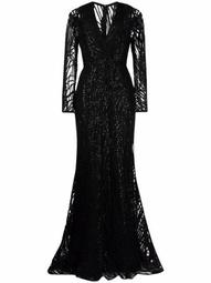 tulle-embroidered silk gown