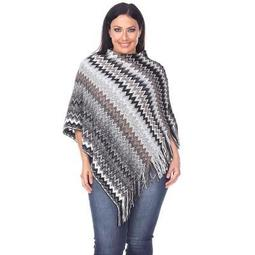 Women's Plus Size Mesila Fringe Poncho - White Mark