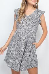 Floral-V-Neck-Ruffle-Cap-Sleeve-Round-Hem-Dress