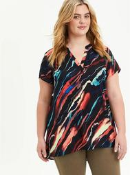 Hi-Low Tunic - Georgette Painted Stripes