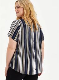 Abbey - Textured Stretch Rayon Multi Stripe Blouse