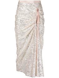 ruched glittered midi skirt