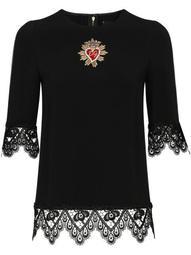 Cady lace-trim blouse