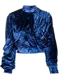 drape detail wrap-front velour top