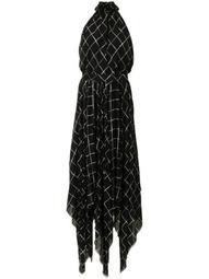 Dahlia windowpane-print long dress