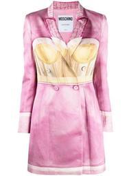 peak-lapel double-breasted blazer dress